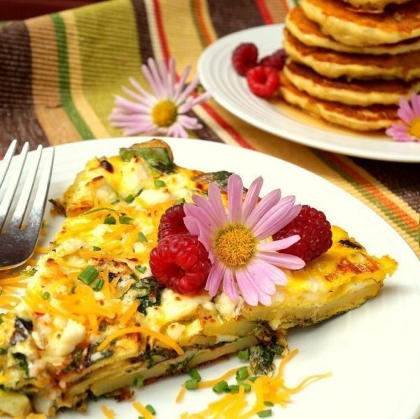 frittata with potatoes, scallions, and greens