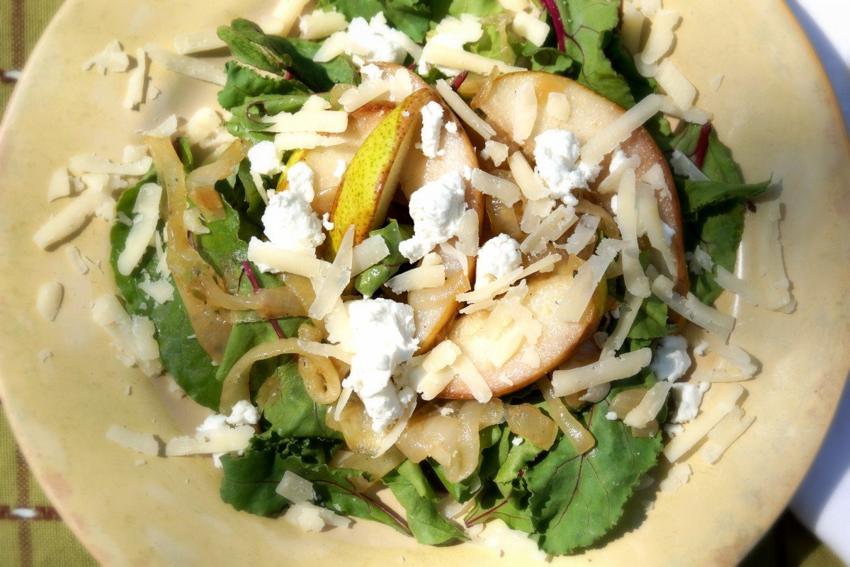 Carmelized onions and pear salad