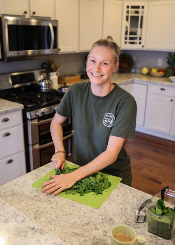 Trisha Belstra prepping spinach