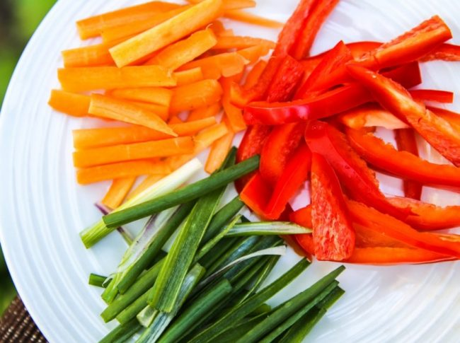carrots red peppers green onions