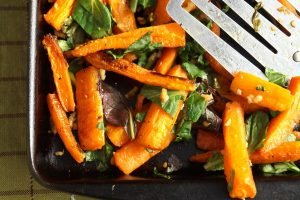 roasted carrots and greens