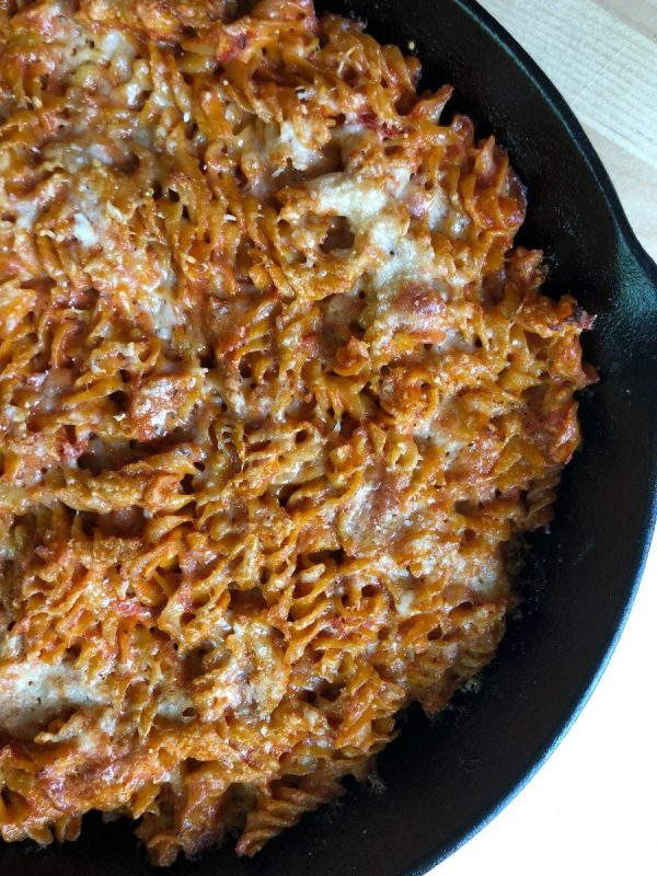 marinara baked rotini in skillet