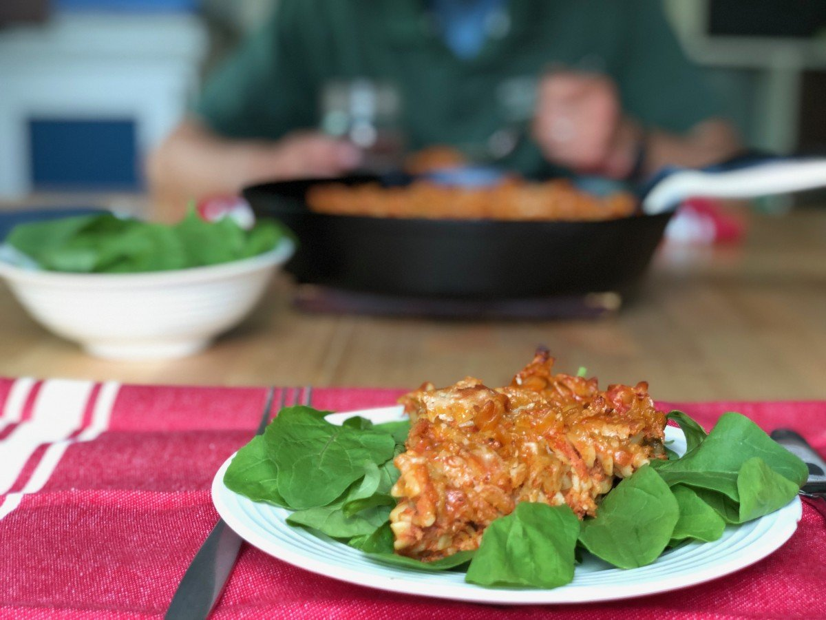 marinara roasted rotini with fresh spinach