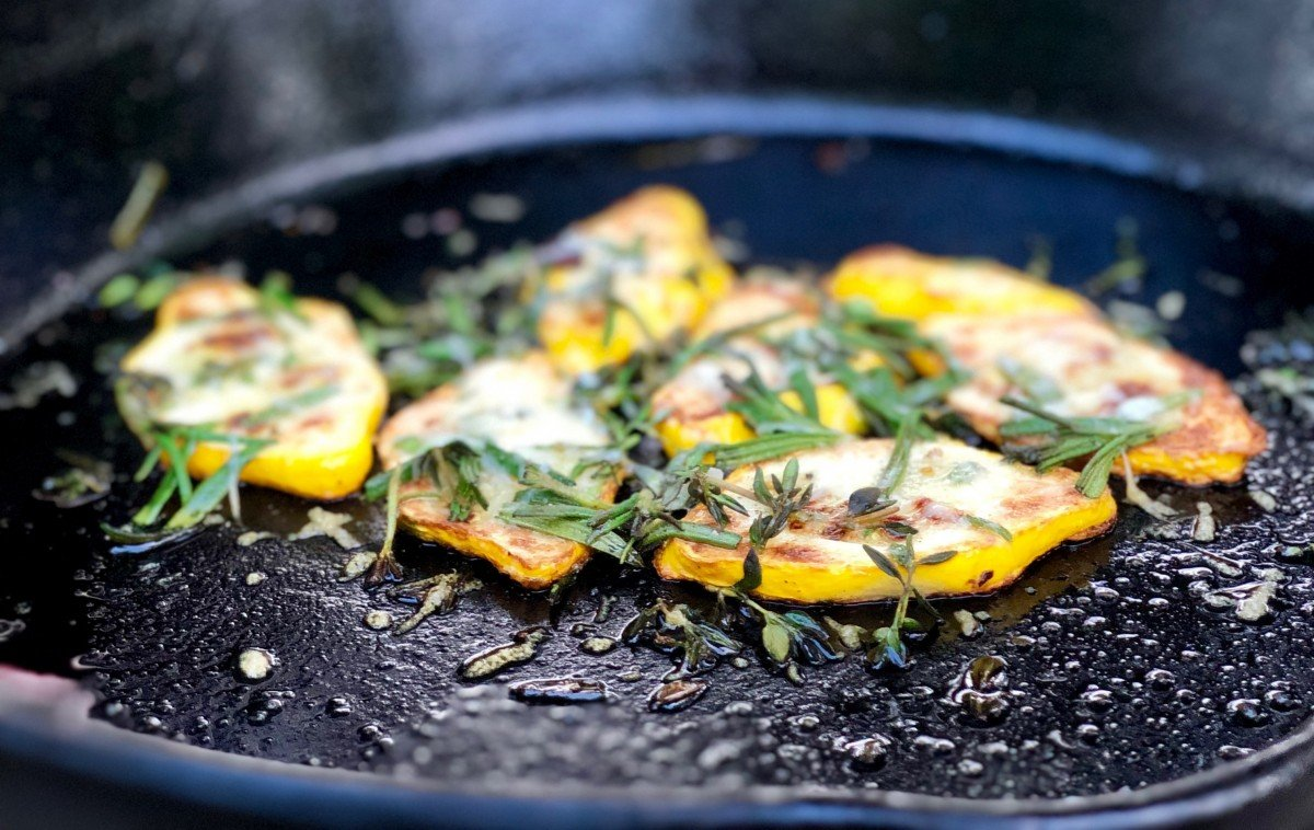 summer squash with fresh herbs and Parmesan