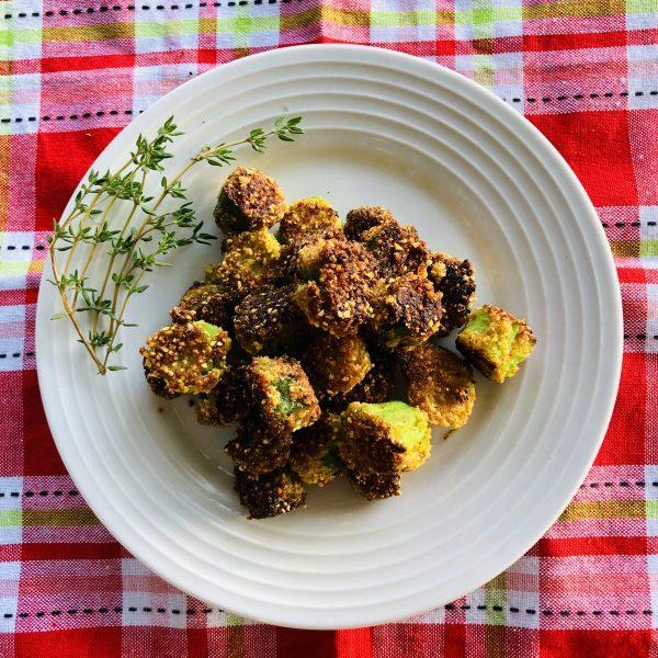 fried okra plated