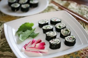 California rolls with radishes and greens