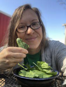 Julie enjoying raw spinach