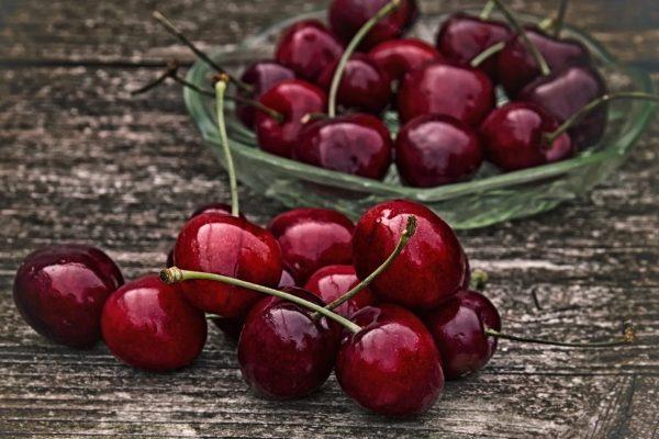 sweet cherries on farm stand