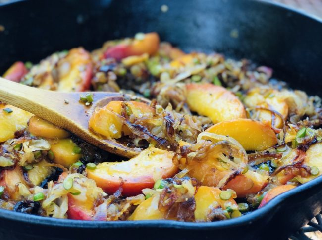 caramelized tropea onions with peaches and garlic scapes