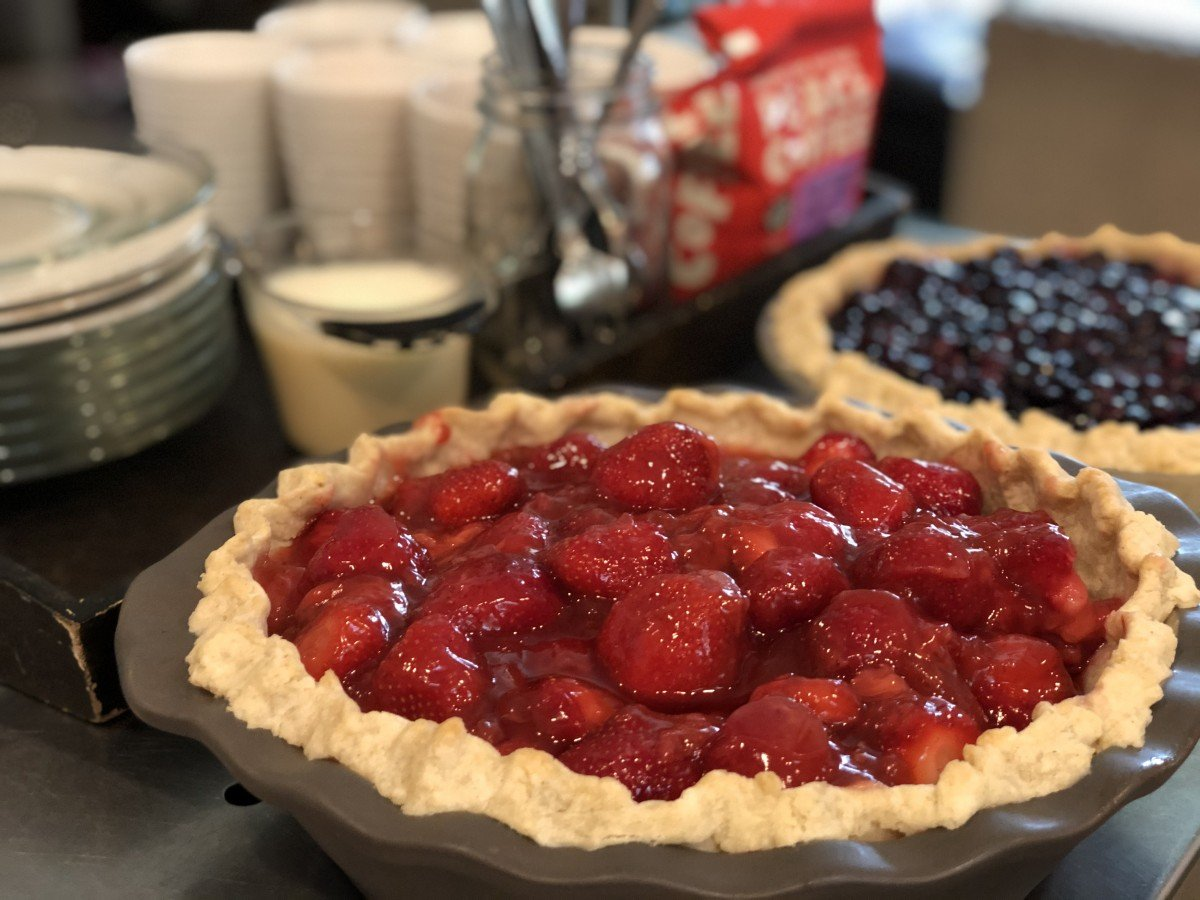 strawberry pie in June