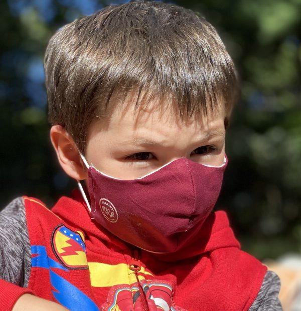Small kids mask Maroon