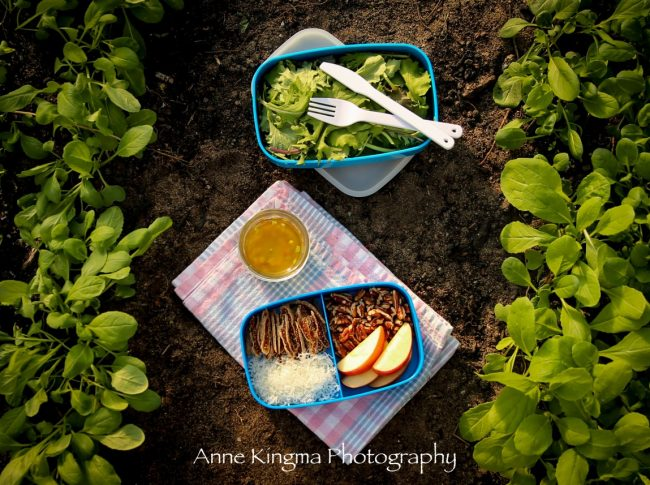 lunch time salad in bento box