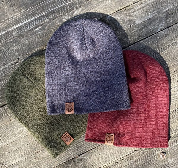 adult beanies olive, maroon, and grey