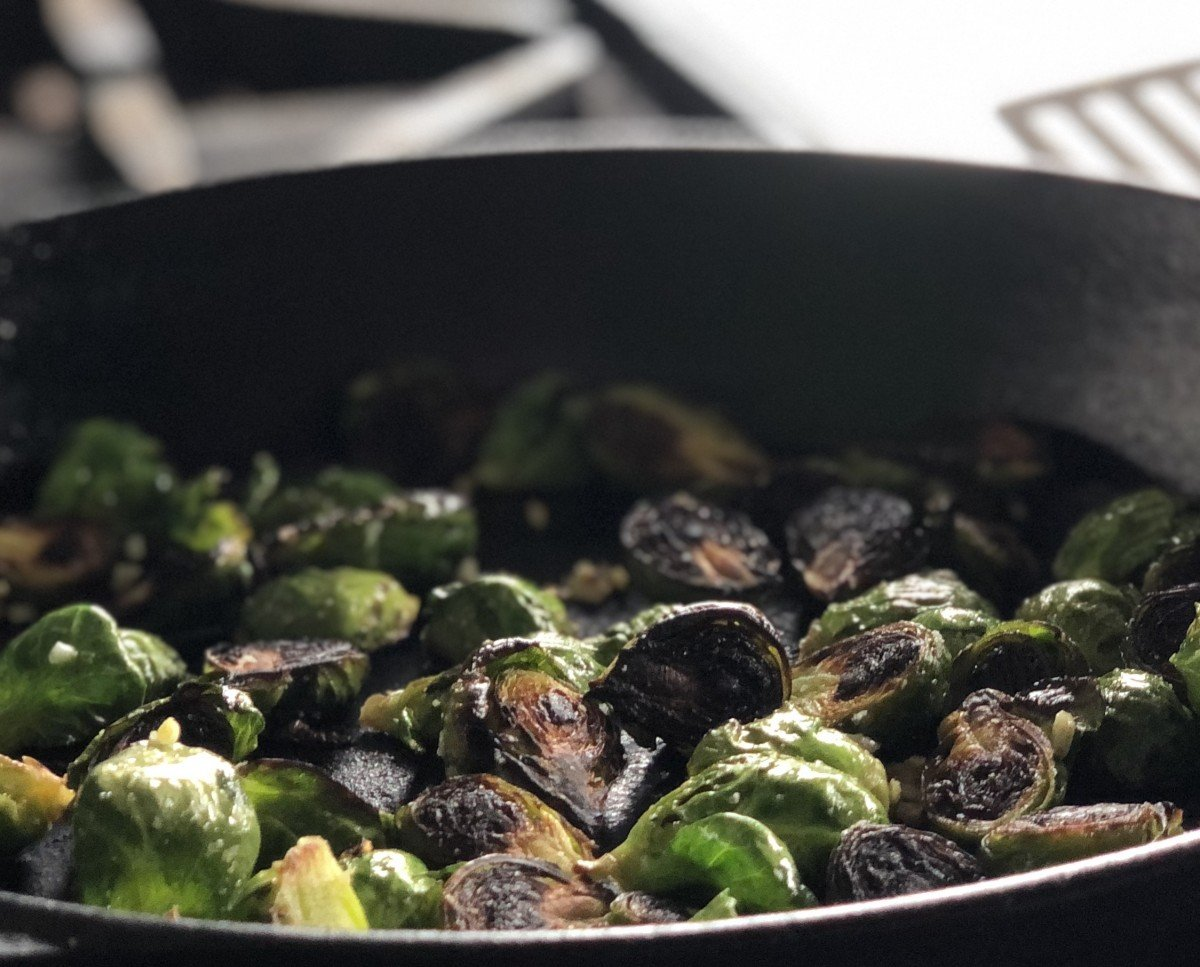 blackened brussels sprouts in finished skillet