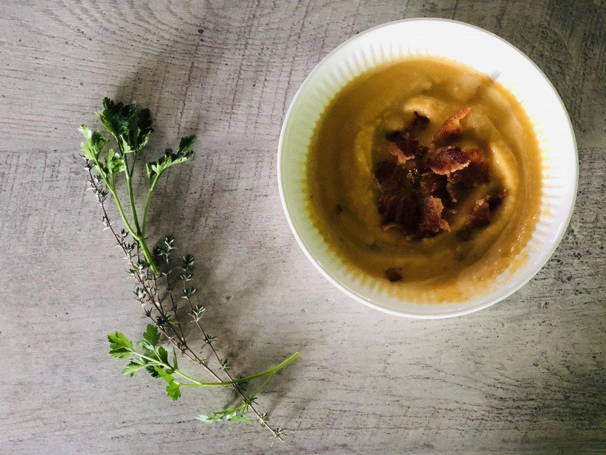 rutabaga cheddar soup with crispy bacon
