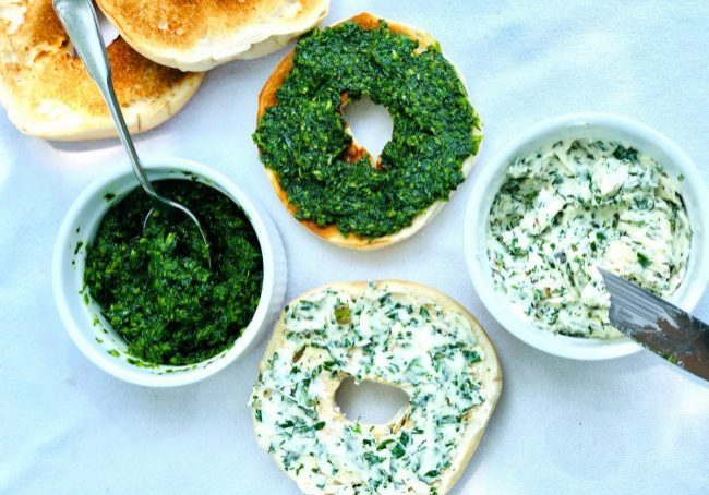 cilantro pesto and herb butter on bagels
