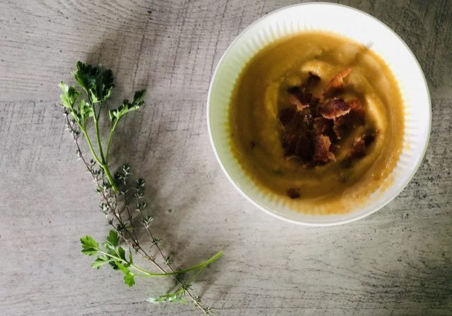 rutabaga cheddar soup with crispy bacon