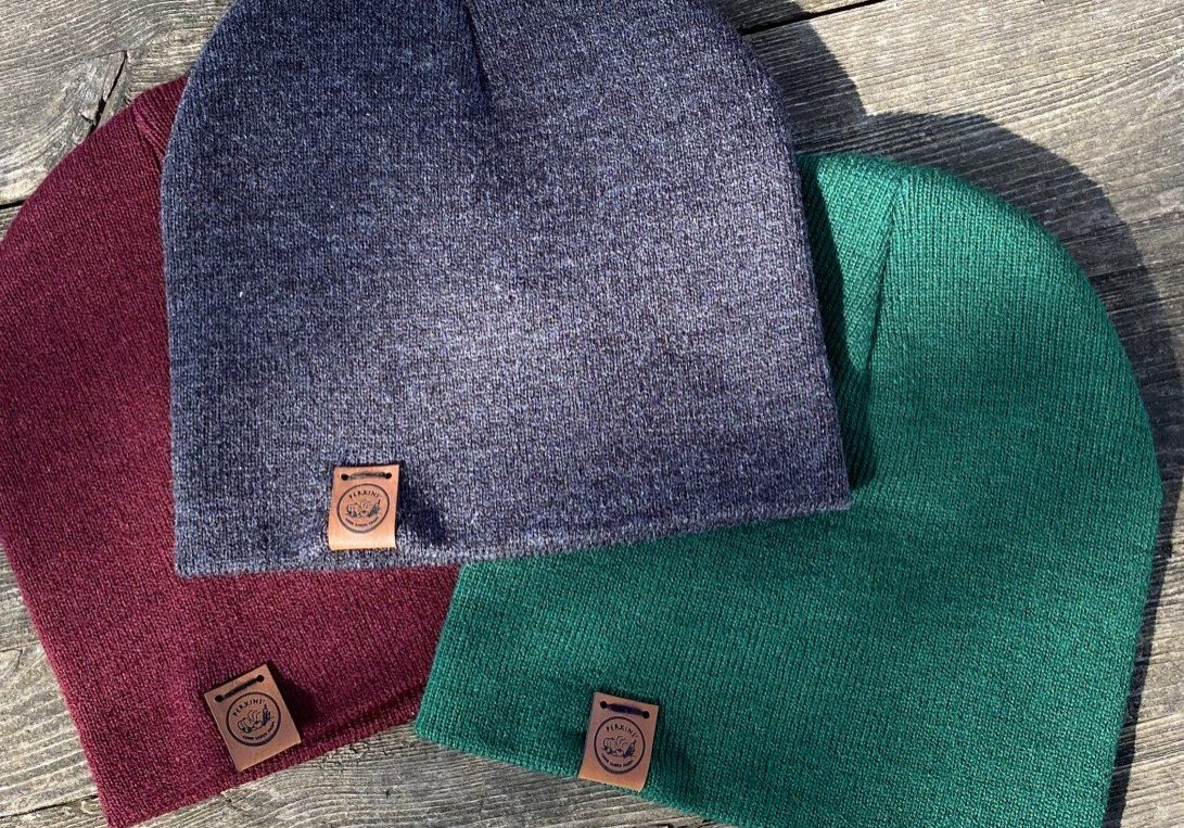 youth beanies, charcoal, green, and maroon